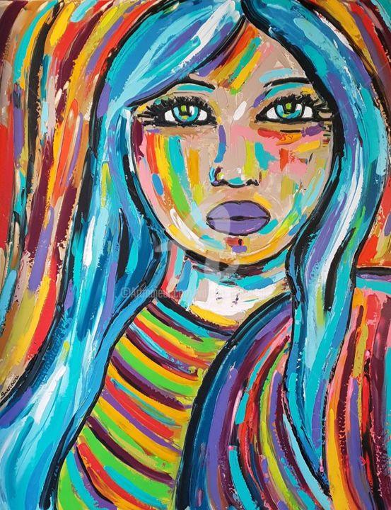 La femme aux cheveux bleus.